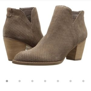 Dolce Vita Janie Suede Perforated Bootie in Taupe